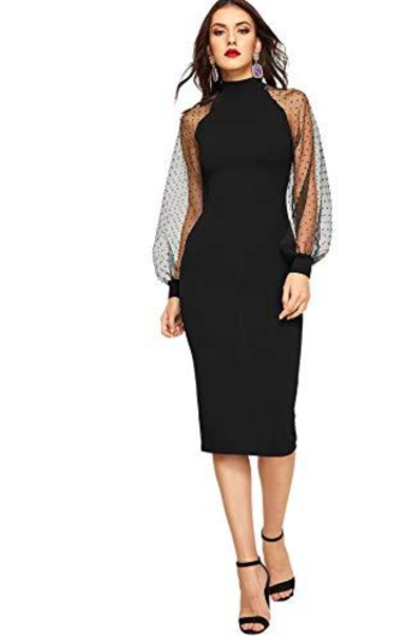 ROMWE Mock Neck Long Mesh Sleeve Dress