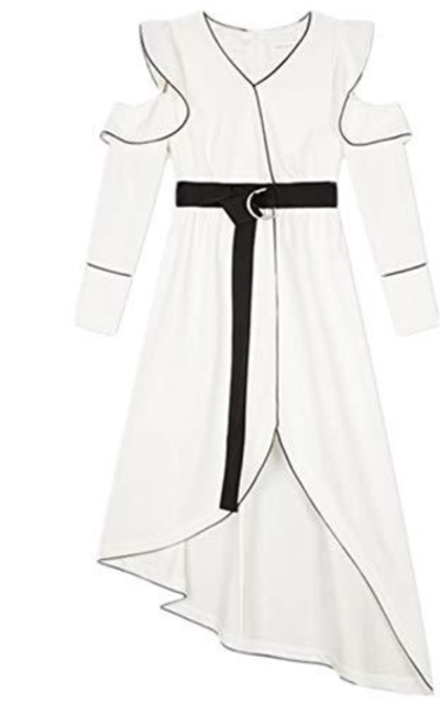 Rioco Ruffle Midi Dress with Belt