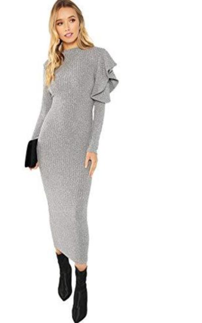 Floerns Knit Bodycon Midi Sweater Dress