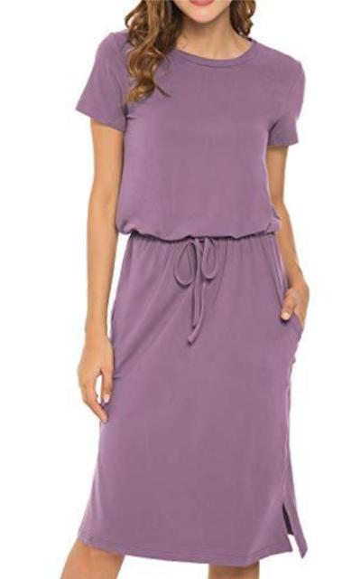 Plain Solid Pockets Midi Dress with Belt