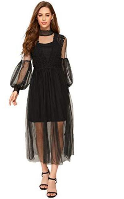 SOLY HUX Elegant Beaded Lace Midi Dress