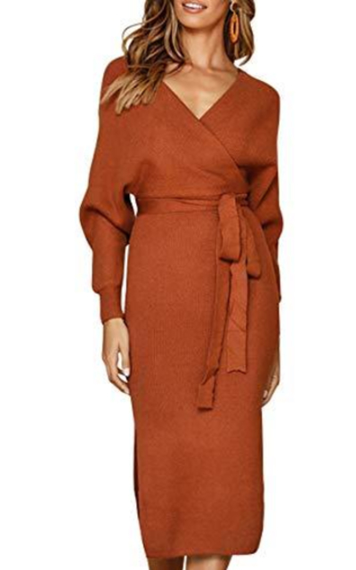 YOVION Cocktail V Neck Belted Sweater Dress
