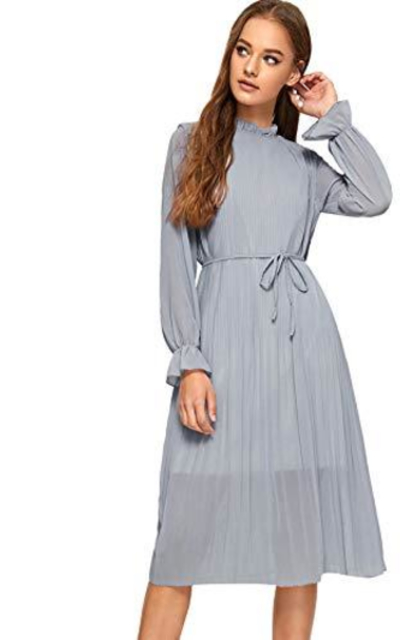 Floerns Frill Neck Belted Pleated Chiffon Dress