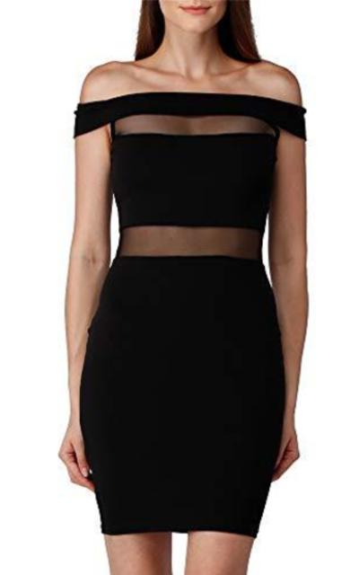 Gmiarmlas Off Shoulder Dress Mesh See Through Dress