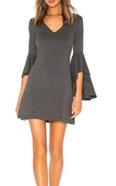 JLCNCUE Flounce Bell Sleeve Mini Dress