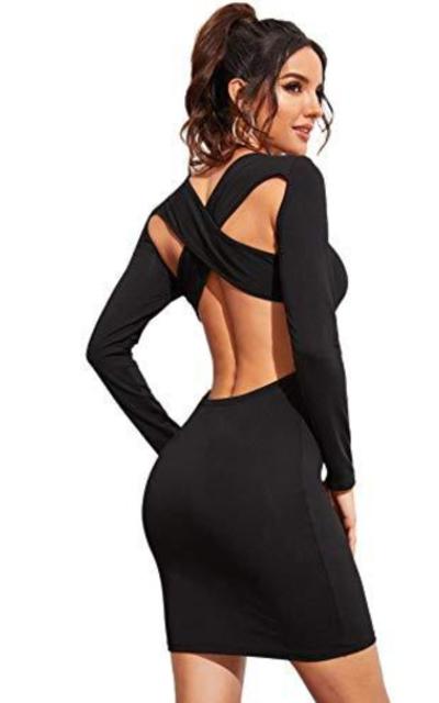 MakeMeChic Crisscross Open Back Bodycon Dress