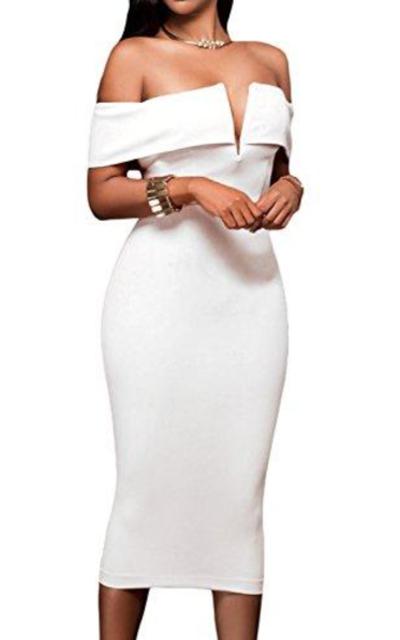 AlvaQ  Off The Shoulder Midi Dress