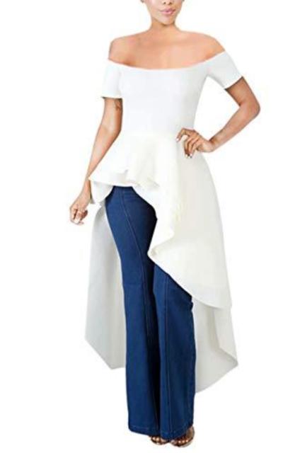 ThusFar Off Shoulder Peplum Ruffle Shirt Dress