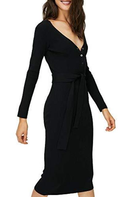 Joteisy Tie Waist Henley Knit Midi Dress