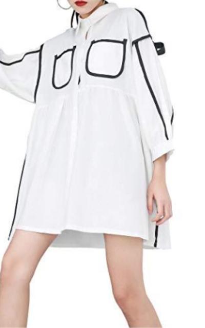 ellazhu Button-Down Tunic Dress