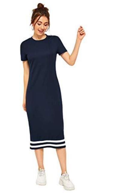 ROMWE Casual Striped Midi T-Shirt Dress