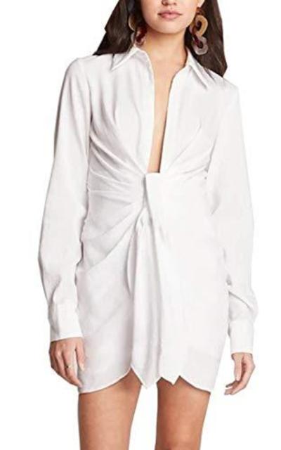 Donnalla 2019 Deep V Neck Waist Tie Front Shirtdress