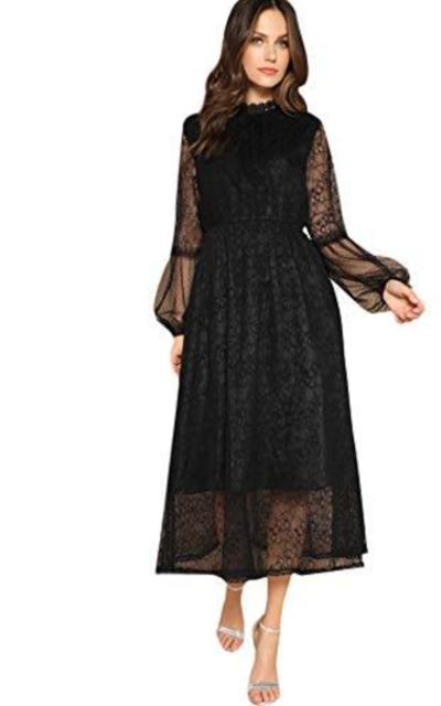 Romwe Mesh Lantern Dress
