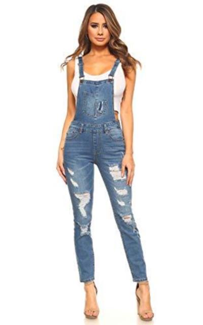 Monkey Ride Jeans Distressed Stretch Twill Denim Overalls