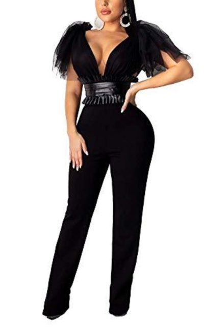 Deep V Neck Flare Pants Jumpsuit