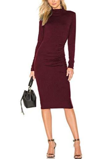 CMZ2005 Turtleneck Long Sleeve Slim Midi Dress