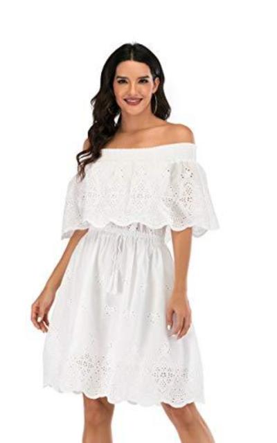 Love Welove Off The Shoulder Ruffle Trim Midi Dress