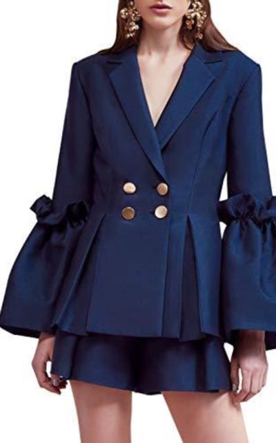 Fashiomo Ruffle Flare Sleeve Blazer