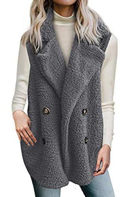 Zeagoo Fuzzy Fleece Lapel Open Front  Vest