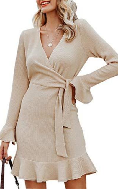 Sollinarry Tie Waist Knitted Mini Wrap Dress