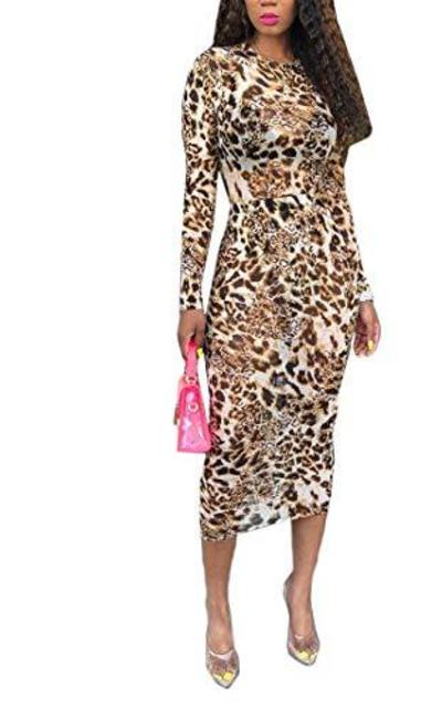 Sprifloral Sexy Leopard Print Bodycon Midi Dress