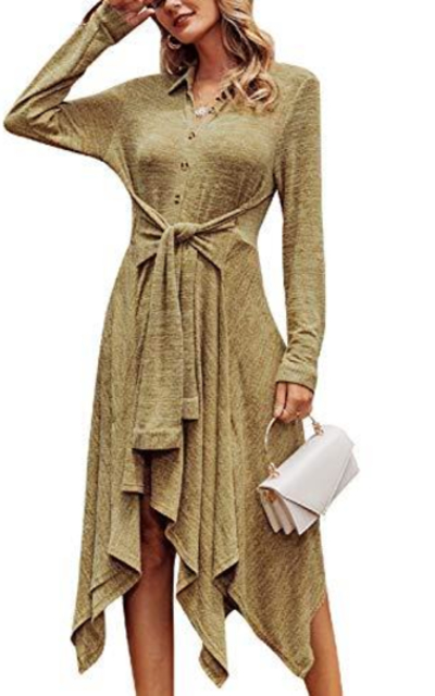 Miessial Knitted Casual Midi Dress