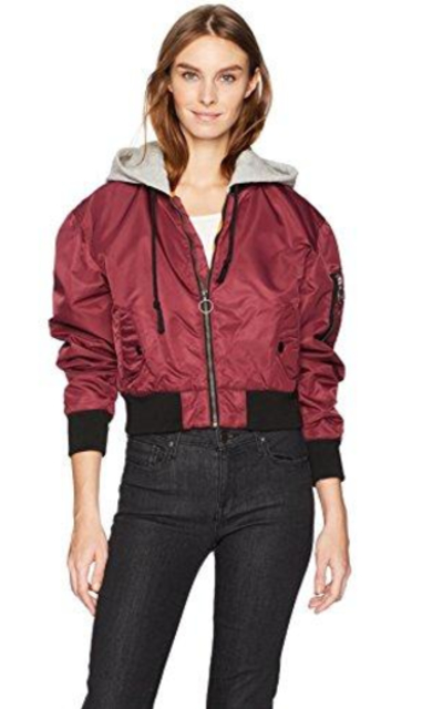 Hudson Jeans Rogue Cropped Bomber With Hood