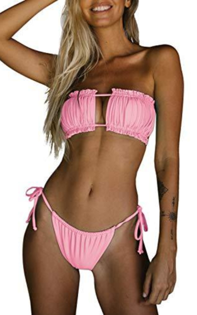 Byoauo  Bandeau Bikini Top with Tie Side Thong Suit