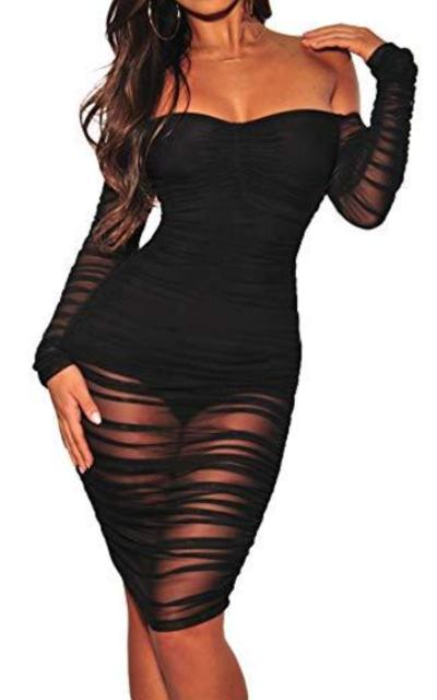 ECHOINE Off Shoulder Bodysuit Mesh Overlay Midi Dress