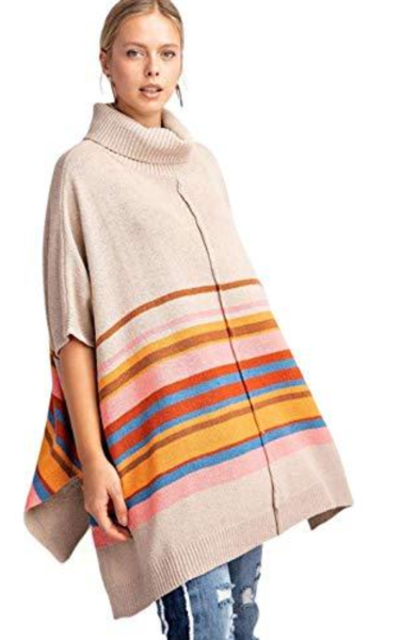 THFB Color Blocked Turtleneck Poncho