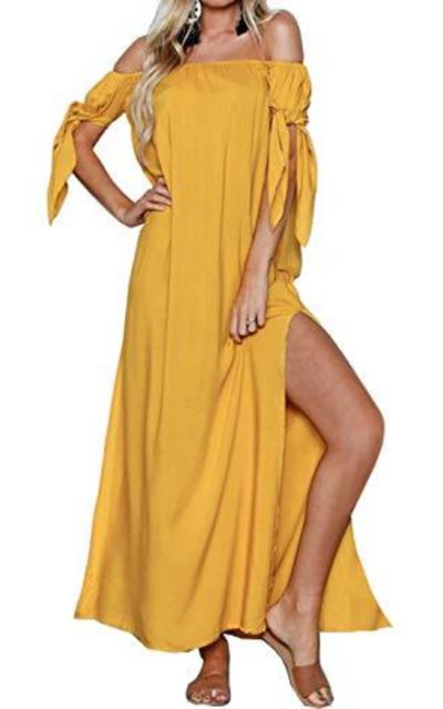 Tsher Boho Off Shoulder Maxi Dress