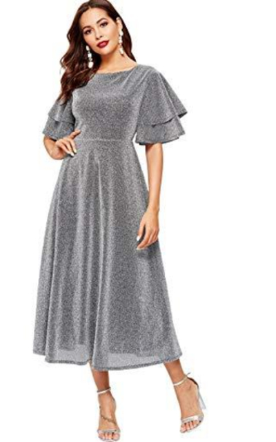 MAKEMECHIC Flounce Sleeve Glitter Long Dress
