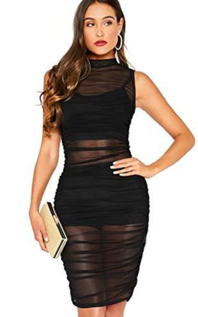 SheIn Mesh Sheer Bodycon Overlay Dress