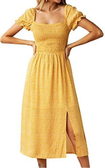 Angashion Boho Ruffle Elastic Square Neck Midi Dress