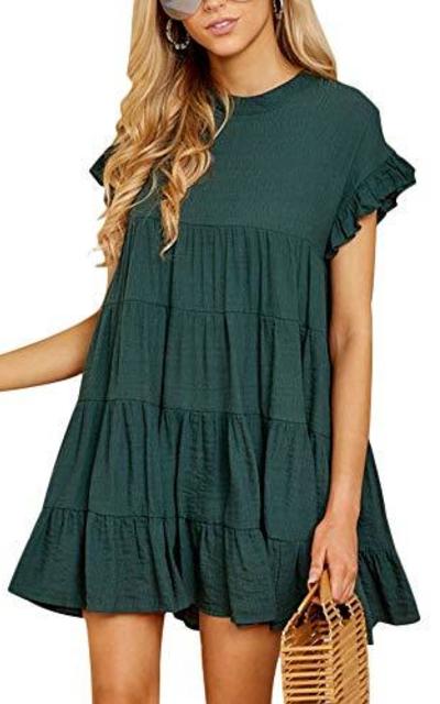 Joteisy O Neck Ruffle Mini Dress
