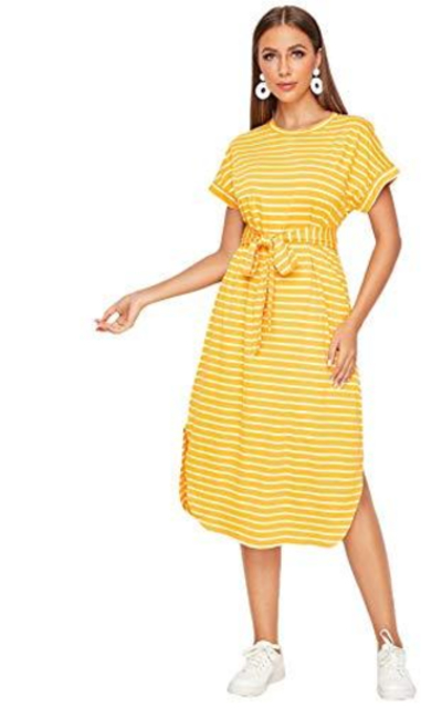 DIDK  Split Hem Striped Dress