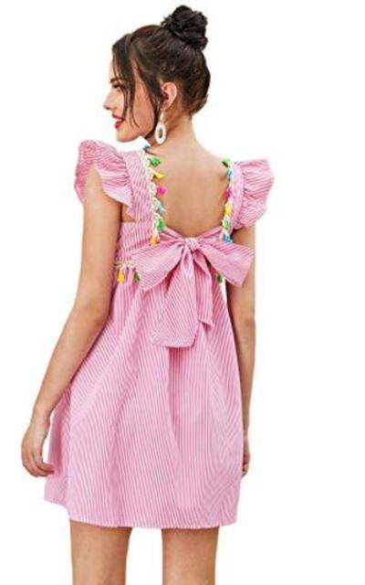 Floerns  Flutter Sleeve Tassel Babydoll Dress