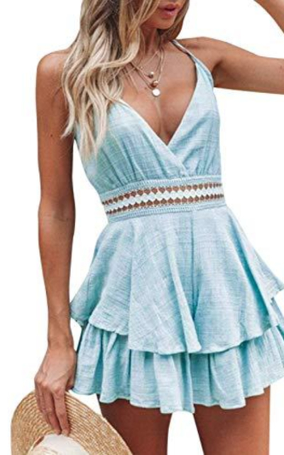 Miessial Lace Ruffle Romper