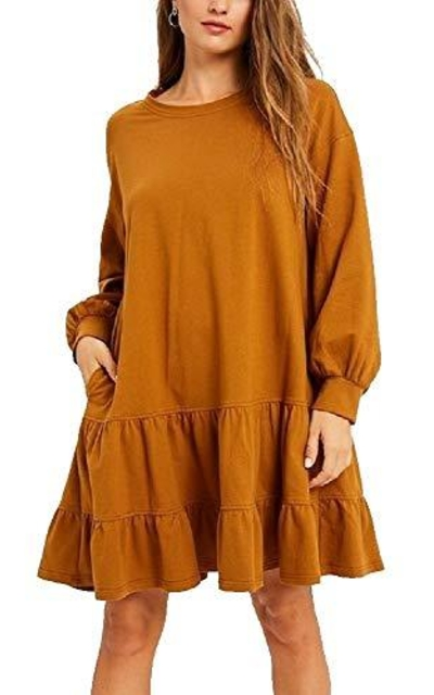 Soft Cotton Jersey Tiered Ruffle Sweatshirt Dress