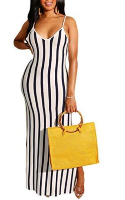 LAGSHIAN Striped Maxi Dress