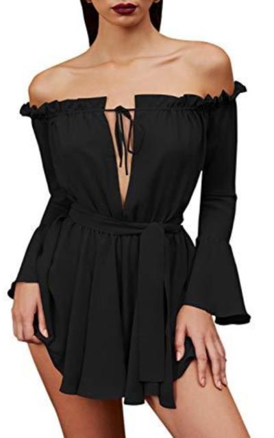 Glamaker Ruffle Mini Dress with Belt