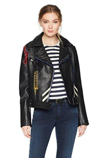 Bagatelle Picasso Textured Leather Biker Jacket