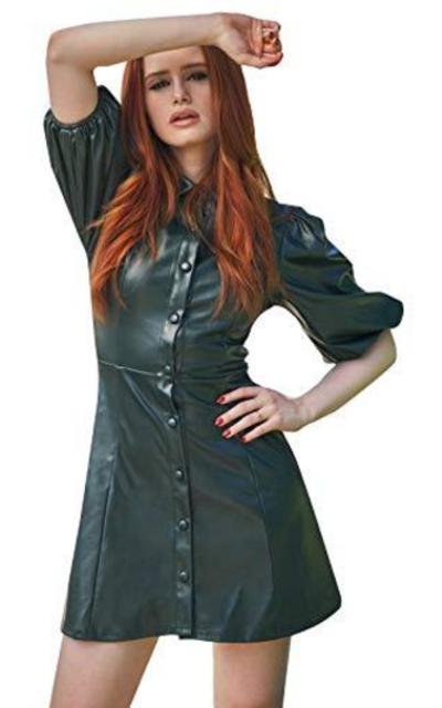 SheIn PU Mini Dress Green