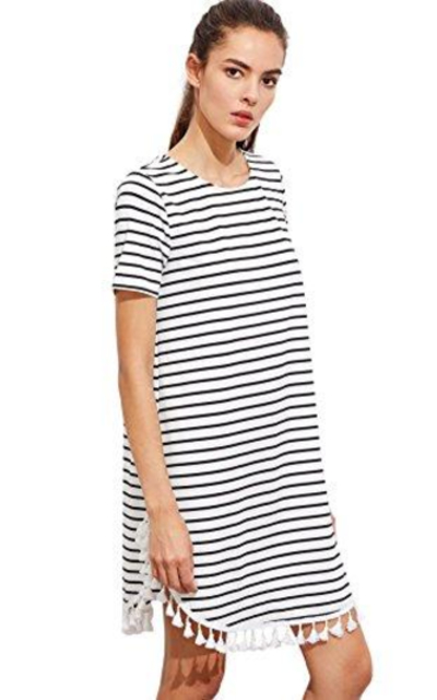 ROMWE Tassel Trim  Striped Tee Dress