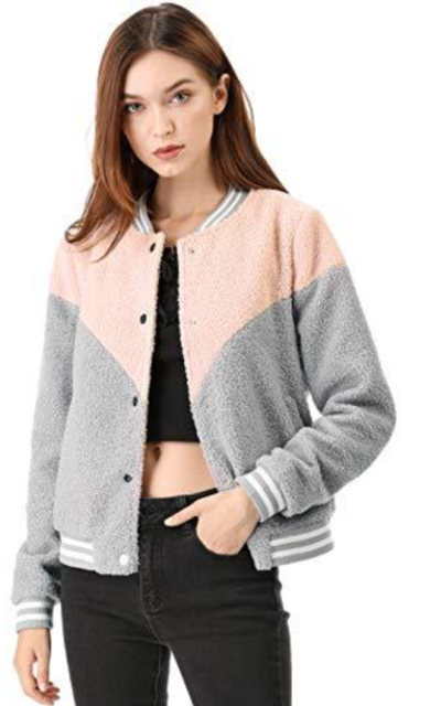 Allegra K Button Down Color Block Fleece Bomber Jacket