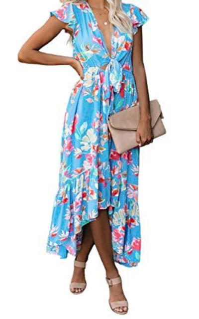 FARYSAYS Floral Print Ruffle High Low Tie Maxi Dress