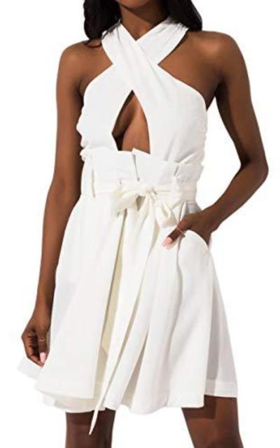 AKIRA Halter Tie Front Belted Dress