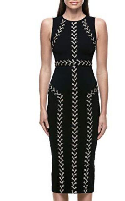 Hego Mesh Studded Long Sleeve Bandage Dress