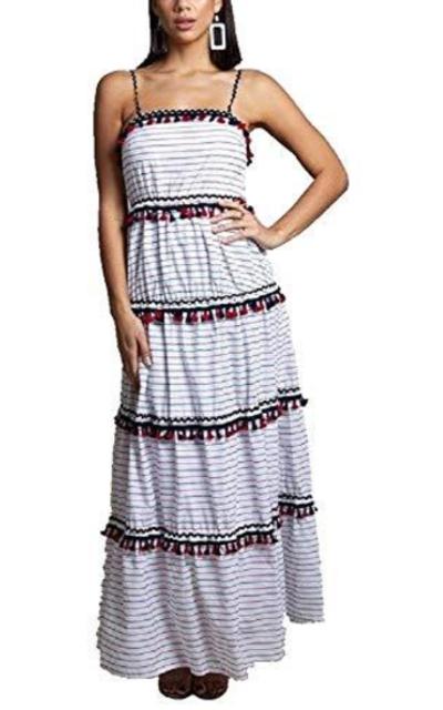 Tiered Red White Blue Tassel Maxi Dress