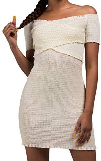 AKIRA Off Shoulder Smocked Mini Dress